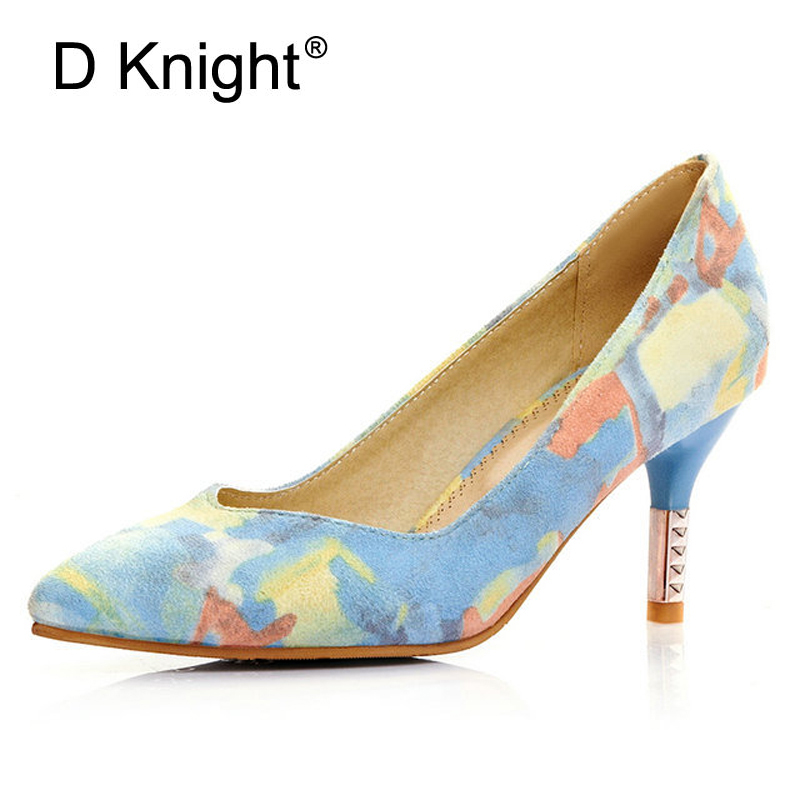 Fashion Print Flock Pointed Toe High Heels Women Shoes Brand Shallow Mouth Medium Height Women Pumps Ladies Heels Shoes Size 43 meotina high heels shoes women pumps party shoes fashion thick high heels pointed toe flock ladies shoes gray plus size 10 40 43