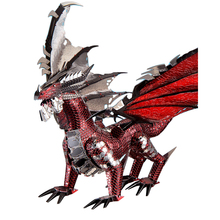 2019 Piececool 3D Metal Puzzle The Black Dragon Model DIY Laser Cut Assemble Jigsaw Toy Desktop decoration GIFT For Audit kids mu 3d metal puzzle siege tank joint movable model diy 3d laser cut assemble jigsaw toys desktop decoration gift for audit