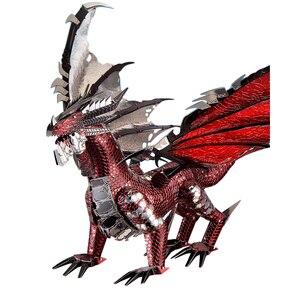 Image 1 - 2019 piececool 3d metal puzzle o dragão preto modelo diy corte a laser montar jigsaw brinquedo desktop decoração presente para auditoria crianças