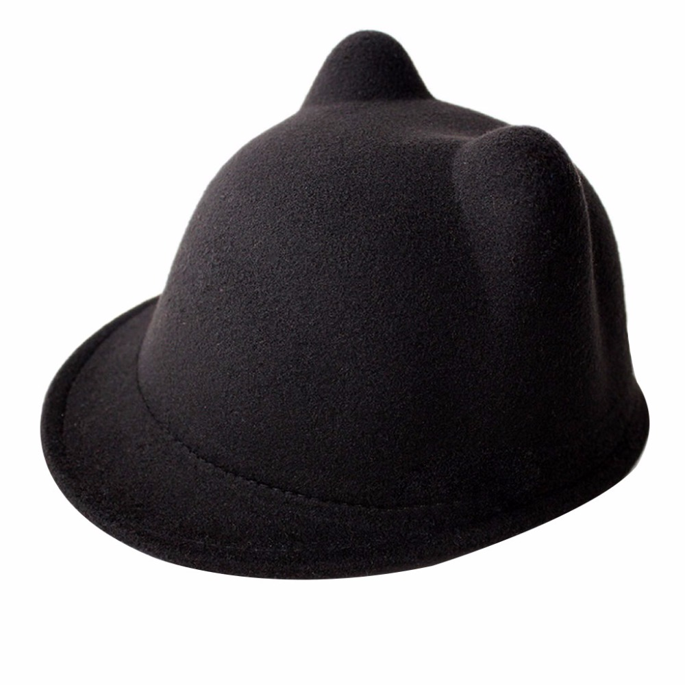 5e770c5f003 Cute Winter Cat Ear Wool Felt Fedora Hat Girl Boy Kid Children Derby ...