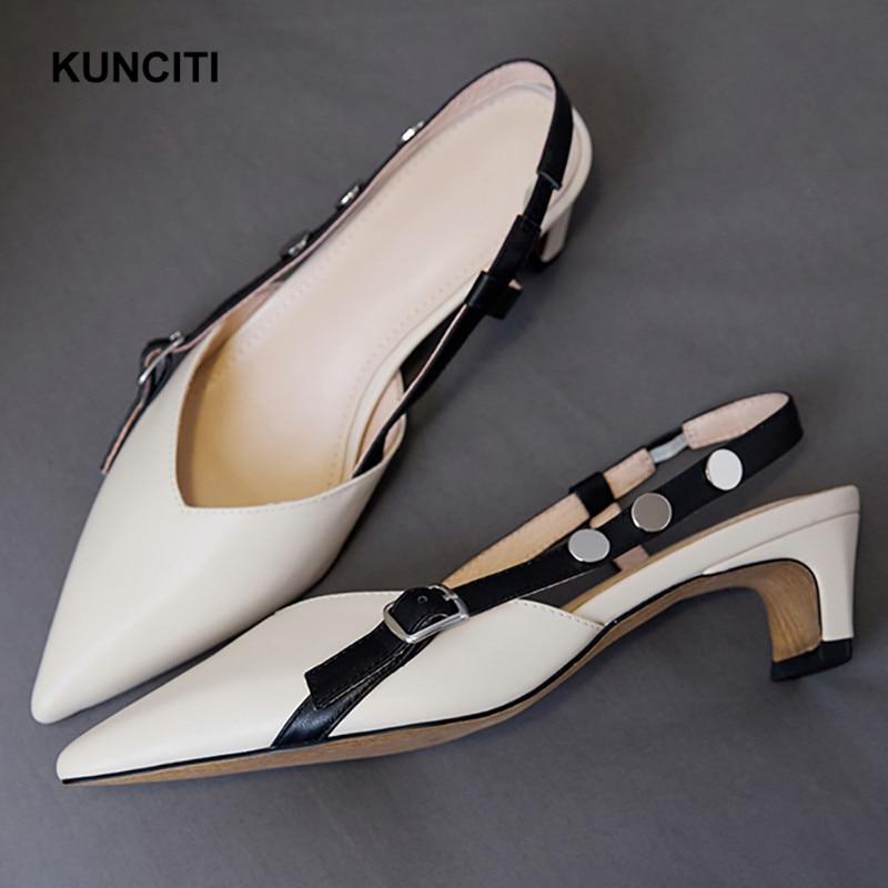 2019 KUNCITI Strange Heels Women Shoes Retro Vintage Fashion Pumps Pointy Toe Rivet Mid Heels Fashion