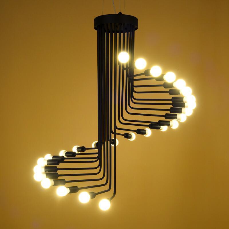 industria desvn vendimia araa negro lmpara colgante escalera de caracol de hierro viento retro saln accesorio