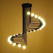 Industrie Loft Vintage Kronleuchter Schwarz Eisen Wind Wendeltreppe Pendelleuchte Retro Wohnzimmer Leuchte LED E27 110 V 240