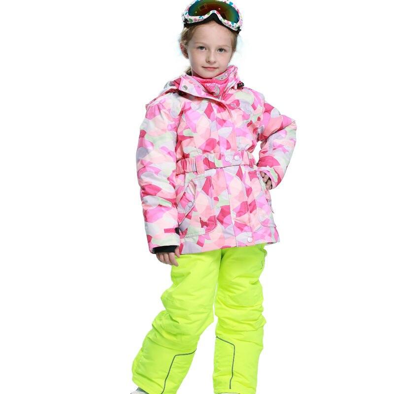 Phibee Girls Waterproof Ski Suit Kids Ski Jacket Ski Pants Windproof Snowboard Jacket Snow  Jacket Free Shipping phibee girls ski jacket windproof waterproof kids ski jacket 8015 free shipping