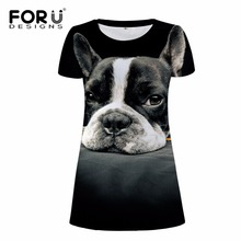 FORUDESIGNS Fashion Ladies Dress Women Casual Party Dress 3D Dog Animal Woman Clothes Brand Summer Beach Dress Vestidos Mujer