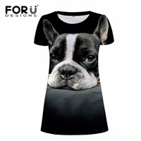 FORUDESIGNS Fashion Ladies Dress Women Casual Party Dress 3D Dog Animal Woman Clothes Brand Summer Beach