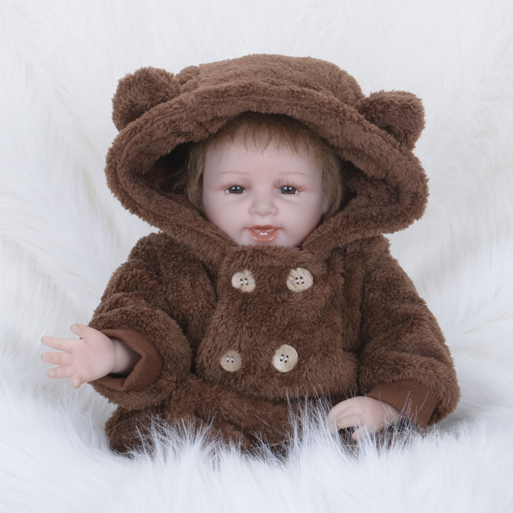 55cm 22 inches Smiling Girl Reborn Dolls with Brown Hooded Clothes Kids Gifts Toys Brinquedos