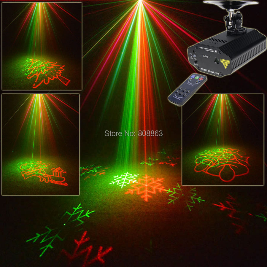 New Mini R&G Laser Big 8 Christmas tree Patterns Projector Dance Disco Bar Party Stage Lights DJ Xmas environment Light Show T18 new mini 4in1 patterns sunflower whirlwind r