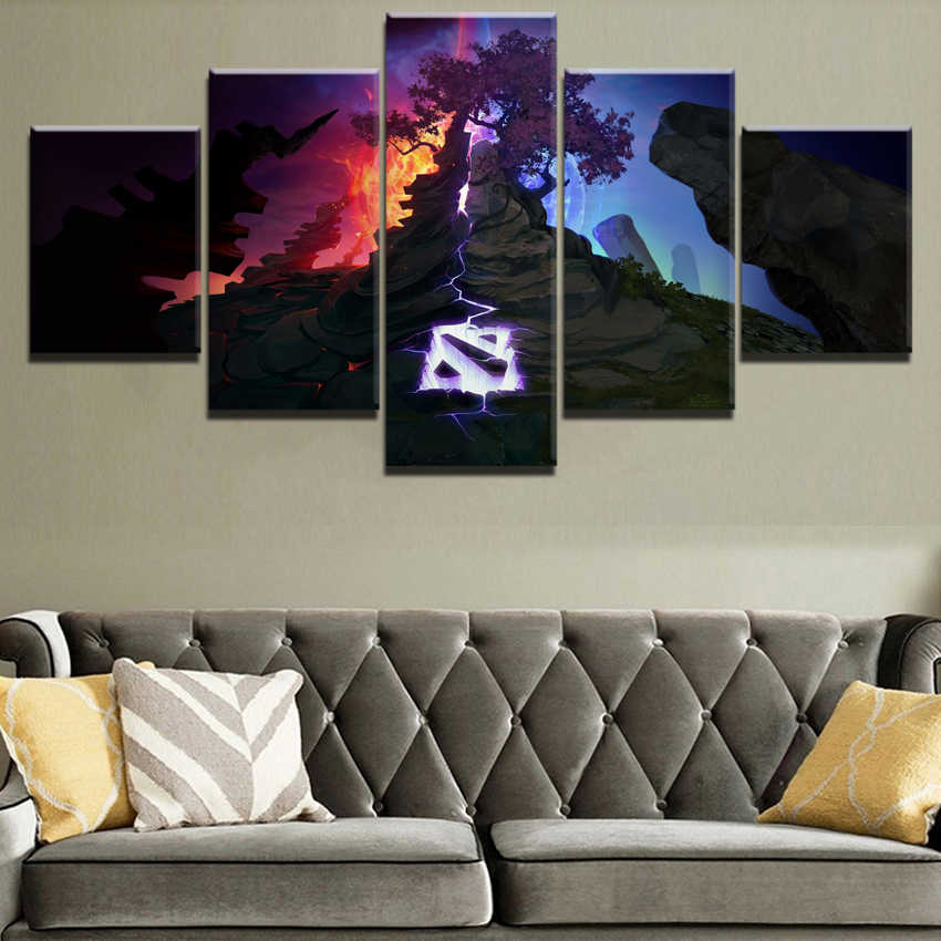 Modern Canvas Home Wall Art Decor Framework 5 Pieces DotA Logo Mountain Landscape Picture Game Poster Painting For Living Room