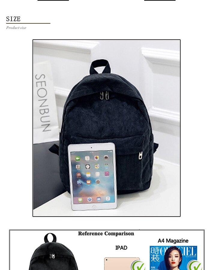 2019 New Corduroy Women Backpack Pure Color Women Travel Bag Fashion Double Backpack Female Mochila Bagpack Pack Design