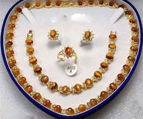 Wholesale price 16new ^^^^Real Tigereye Set Ring Earrings Bracelet NecklaceWholesale price 16new ^^^^Real Tigereye Set Ring Earrings Bracelet Necklace