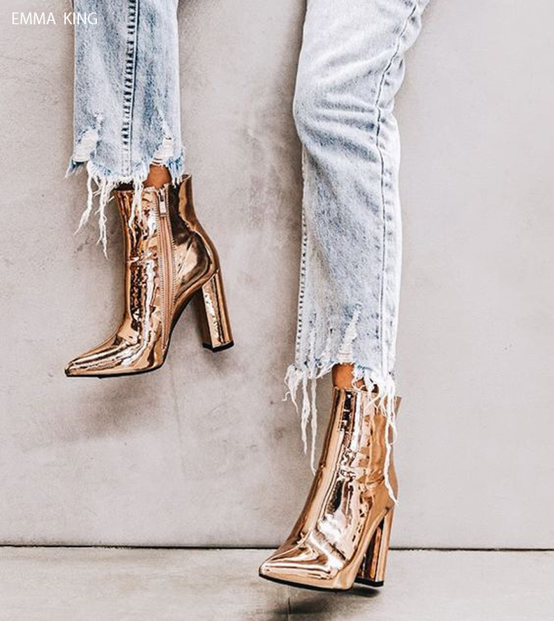 Luxury Botines Mujer 2018 Bling Gold Silver Ankle Boots for Women Pointed Toe Chunky Heels Zipper Bottes Femme Party Shoes WomenLuxury Botines Mujer 2018 Bling Gold Silver Ankle Boots for Women Pointed Toe Chunky Heels Zipper Bottes Femme Party Shoes Women