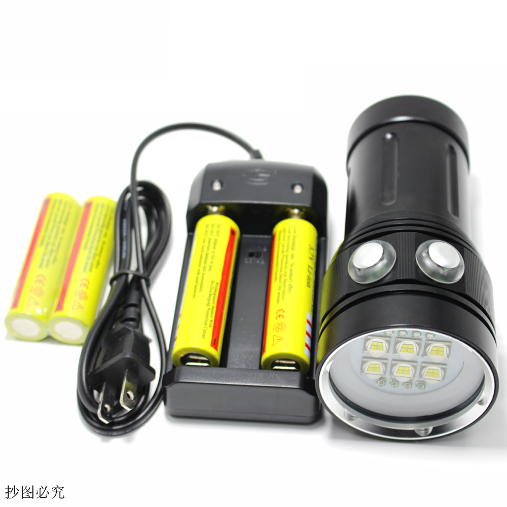 20000 lumens professional LED diving torch white red UV underwater photo light LED underwater photography lights lumens