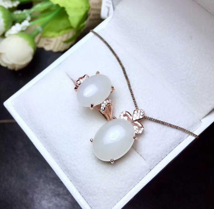 MeiBaPJ Clássico Jade Natural Pedra Preciosa Conjunto de Jóias 925 Sterling Silver 2 Siut Pedra Branca Jóias Finas para Mulheres