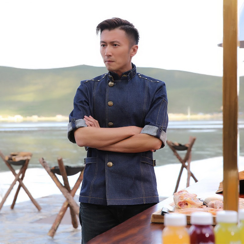 Summer Fashion Short Sleeve Denim Blue Chef Coat  Chef Jacket Denim Men Restaurant Uniform Chef