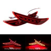OKEEN 2pcs Red lens LED Rear Bumper Reflector Light LED Fog Lamp Tail Brake Light For Honda City 2014 2015 2016