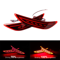 OKEEN 2pcs Red lens LED Rear Bumper Reflector Light LED Fog Lamp Tail Brake Light For Honda City 2014 2015 2016