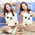 2017 Mulheres Pijama Define Mais Grosso Quente Outono Inverno Urso Flanela Leisurewear Terno Homewear Bonito Kigurumi Camisola Feminina Z5021