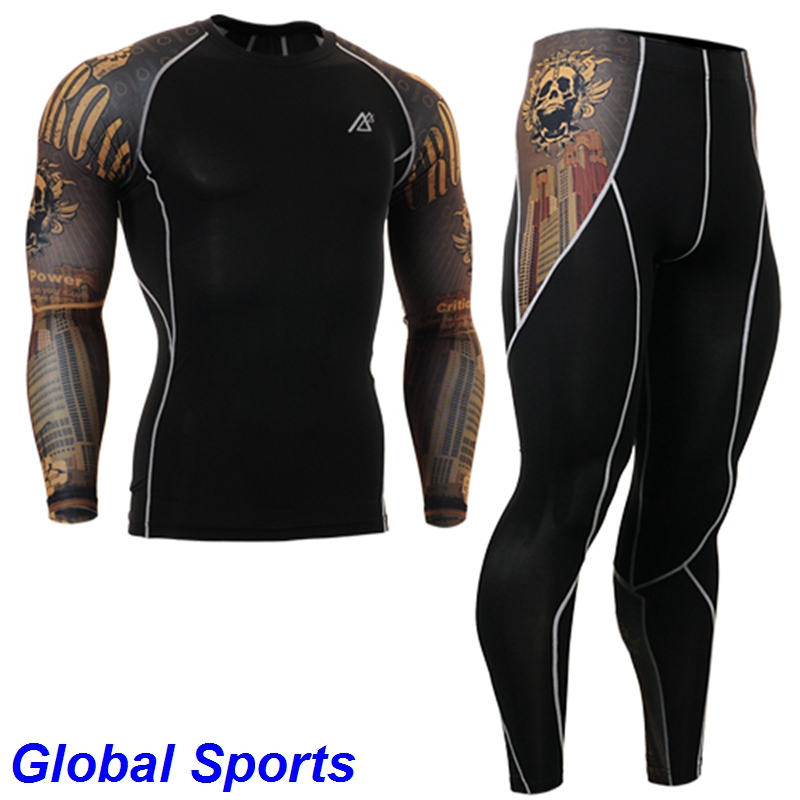 2017 mens skins compression sets skulls printing long sleeve running t shirts and pants sets size s-4xl