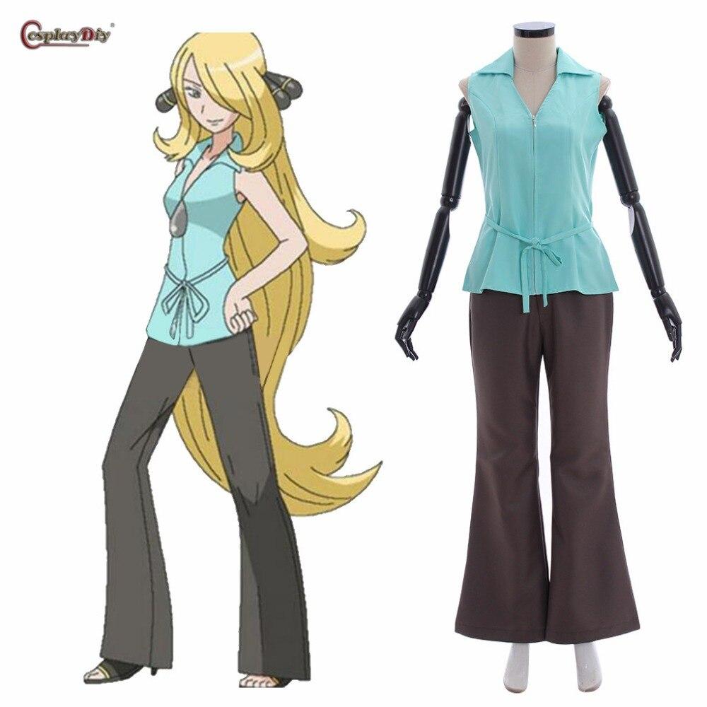 Game Pokemon sun moon Cynthia Cosplay Costume adult costume