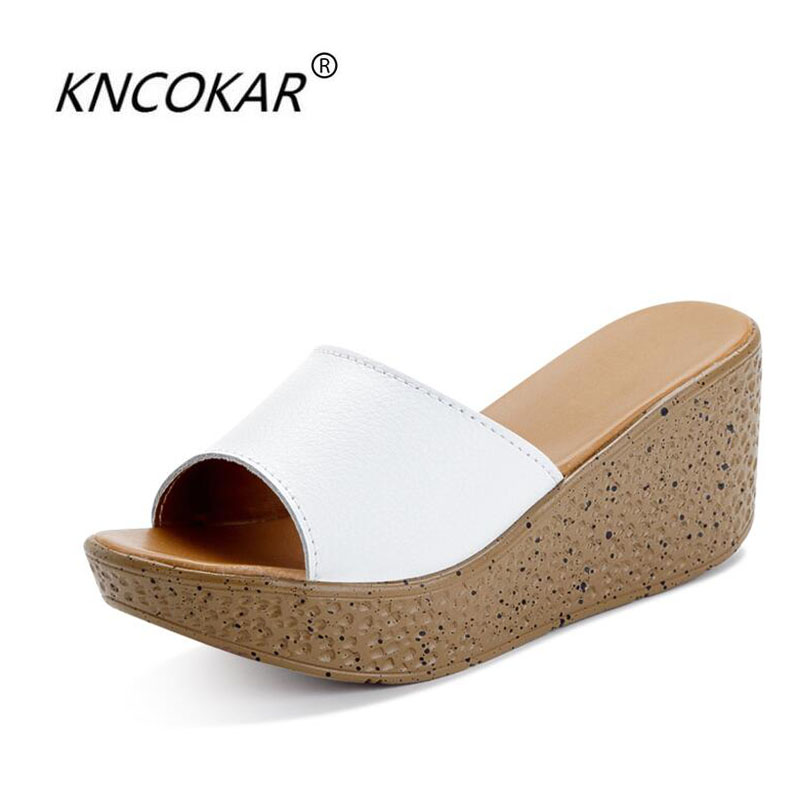 The new platform wedge sandals women summer cool slippers waterproof bowknot high-heeled slippers fish mouth the new type of diamond mother sandals lady leather fish mouth flowers with leather high heeled shoes slippers women shoes