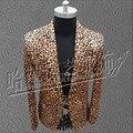 HOT 2016 Nuevos hombres flor leopardo chaqueta del traje versión Coreana de los hombres pequeño blazer juegos del club nocturno trajes de la etapa cantante