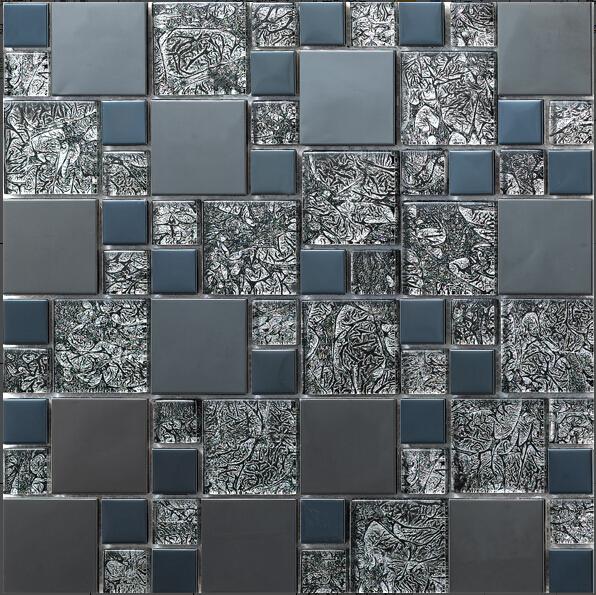 de metal de acero inoxidable de mosaico de vidrio azulejo de la cocina backsplash azulejos bao