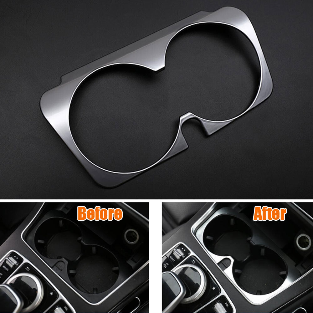 Console Water Cup Holder Cover Trim Decor Frame Interior Car-styling Sticker For Mercedes Benz GLC C E Class W205 W213 2015-2017 car center console dashboard speaker cover protection cover trim for mercedes benz c class w205 c180 c200 c260 glc class x253
