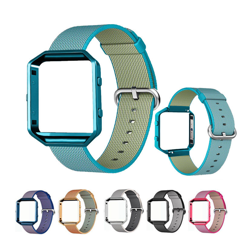 Sport Nylon Woven Watch Band For Fitbit Blaze Smart Watch Bands Colorful Bracelet Wrist Strap With Stainless Steel Metal Frame