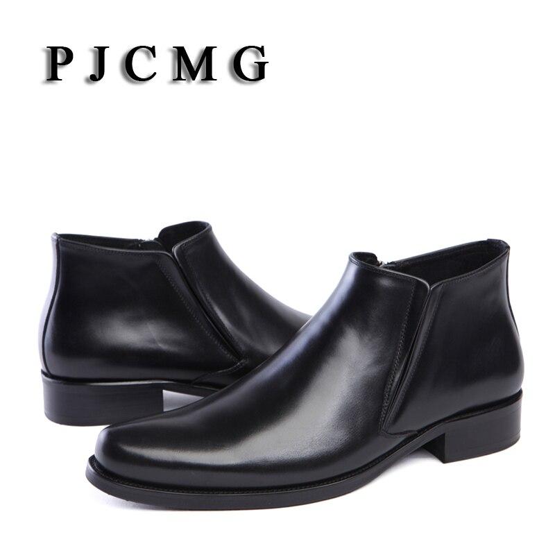 PJCMG primavera/verano botas punta puntiaguda negro/rojo transpirable Bullock patrones Oxford puntiagudos Zapatos de vestir para hombres botas de tobillo    2