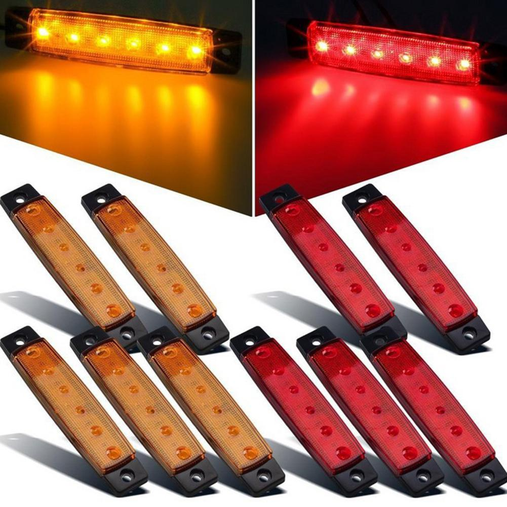 High Power 6 LED 12V Side Indicator Light Marker Lamp For Truck BUS Trailer White/Red/Yellow/Blue/Green Side Marker Lights Lamp