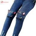 Primavera outono inverno Crianças roupas meninas legging gato dos desenhos animados calças jeans da moda calças capris Lápis Calças Calças do bebê