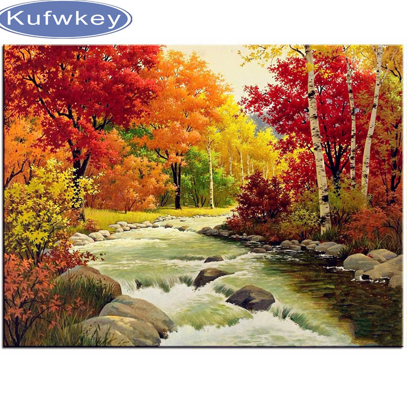 5D Diy Diamond Painting Cross Stitch Diamond Embroidery Landscape Autumn Forest Pattern Hobbies And Crafts Diamond Mosaic Kits