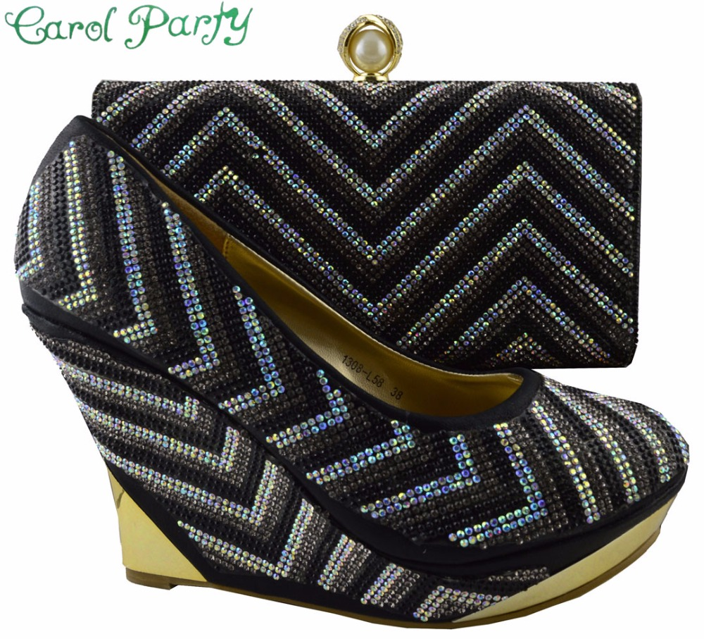 Italian Design African Shoes And Matching Bags For Wedding And Party New African Shoes And Bag Sets Woman  1308-L58