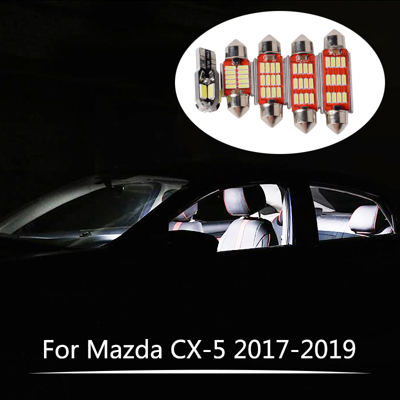 7Pcs Canbus LED Lamp Car Bulbs Interior Package Kit <font><b>For</b></font> <font><b>Mazda</b></font> <font><b>CX</b></font>-<font><b>5</b></font> CX5 <font><b>CX</b></font> <font><b>5</b></font> KF 2017 <font><b>2018</b></font> <font><b>2019</b></font> Map Reading Trunk Cargo Light image