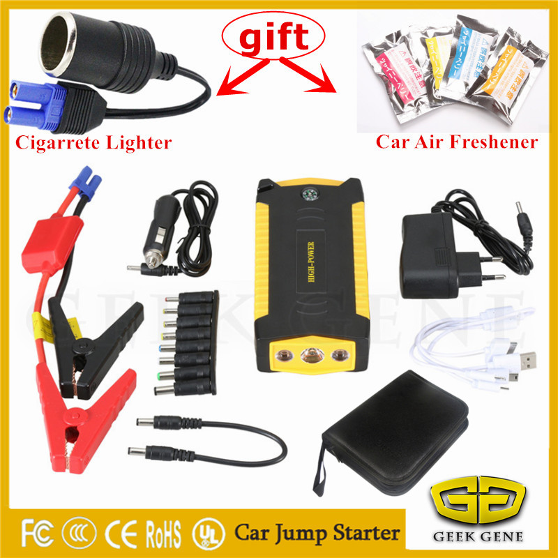 High Capacity Starting Device Petrol Diesel 12V Car Jump Starter Mini Power Bank 600A Car Charger For Car Battery Booster Buster 2017 hot high capacity 12v petrol diesel car jump starter 600a peak car battery charger mini 4usb power bank sos light free ship