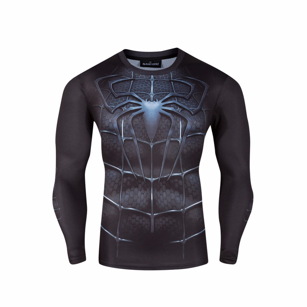 Super Hero Tights Shirt Autumn Men Long Sleeve T-Shirts Superman Spiderman Iron Man Hulk Captain America Quick Drying Shirt