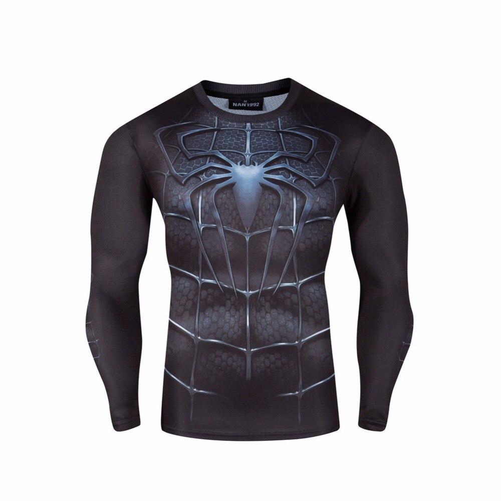 Super Hero Tights Shirt Autumn Men Long Sleeve T-Shirts Superman Spiderman Iron Man Hulk Captain America Quick Drying Shirt