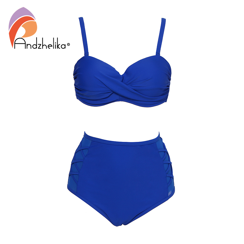 Andzhelika Plus Size Swimsuit Solid Mesh High Waist Bikini Set 2019  Bikinis Women Bathing Suit Swimwear Female Biquini AK88108