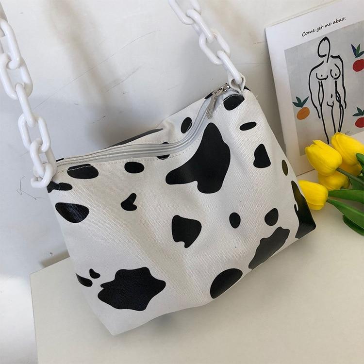2019 new Cow print fashion ins locomotive lovers bag Korean version of the new casual shoulder Messenger bag