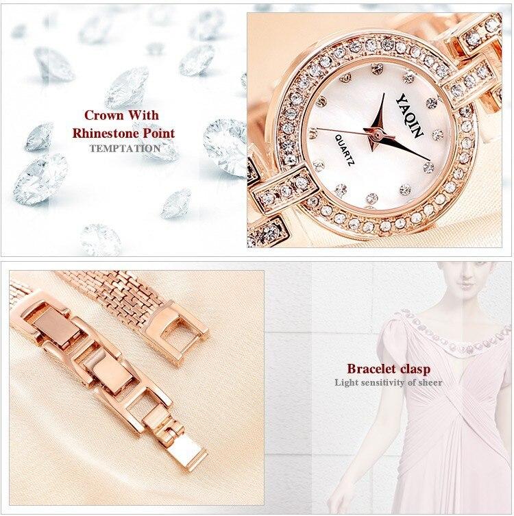 de luxo pulseira cobre quartzo senhoras simples