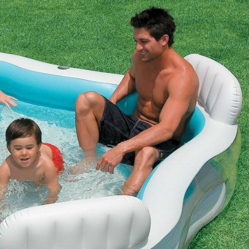 Gonflable Piscine dossier avec siège famille piscine gonflable piscine carré D'été bébé piscine 56475 - 2