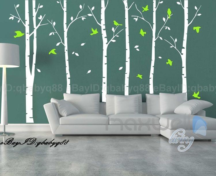 Arbre mur autocollant géant superbe bouleau oiseaux arbre forêt Art mur autocollant arbre mur autocollant salon enfants chambre décoration