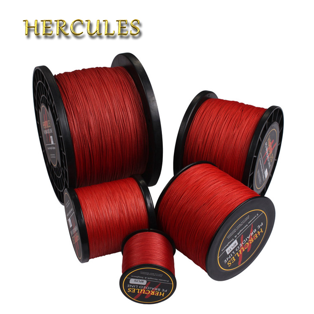 Hercules Braided Fishing Line 8 Strands Red 100M 300M 500M 1000M 1500M 2000M Saltwater Fishing Cord linha multifilamento 8 fio все цены