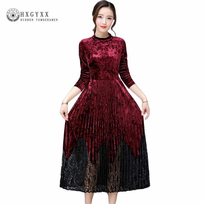Long Lace Hem Stitching Party Velvet Dress Woman 2018 Spring Autumn Elegant Long Sleeve Defined Waist Pleated Dresses Okb462