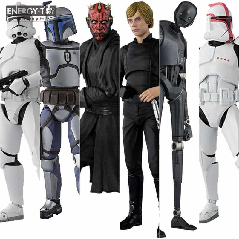 Karikatür Yıldız Savaşları Darth Maul Luke Skywalker Jango Fetts K-2SO Clone Trooper Faz I II action figure doll modeli oyuncak