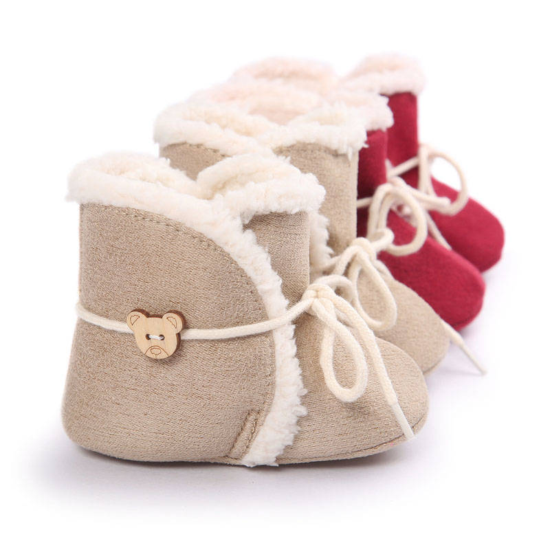 Brand Winter Snow Cotton Boot Toddler Baby Moccasins With Fur Warm Girls Indoor Shoes hard sole Prewalkers Non-slip 0-18M