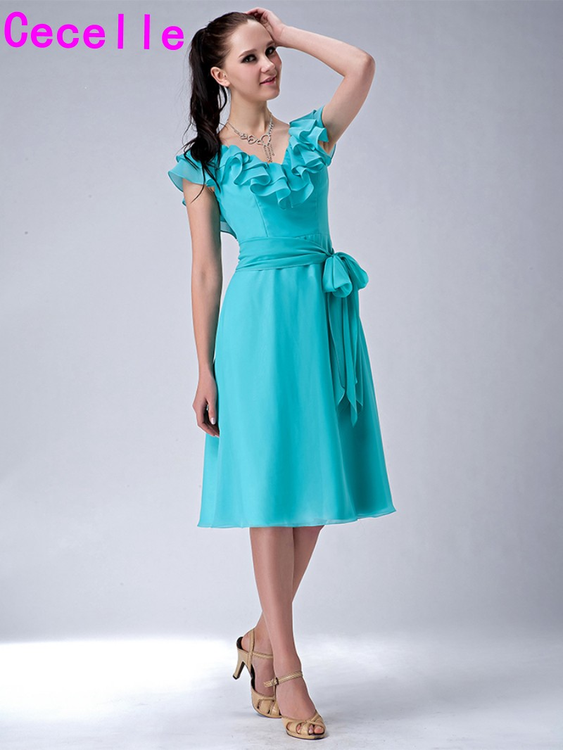 Mint Short Modest Bridesmaid Dresses With Sash V Neck A line Knee ...