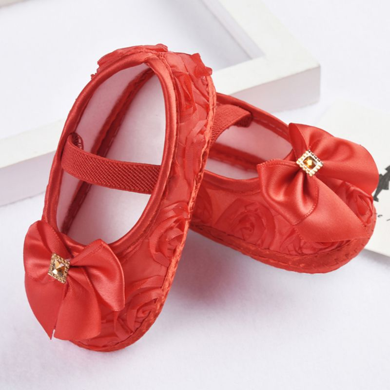 Baby Girl Shoes First Walkers Todder Prewalker Shoes Rose Flowers Bow Princess Newborn Baby Soft Sole Shoes 9389