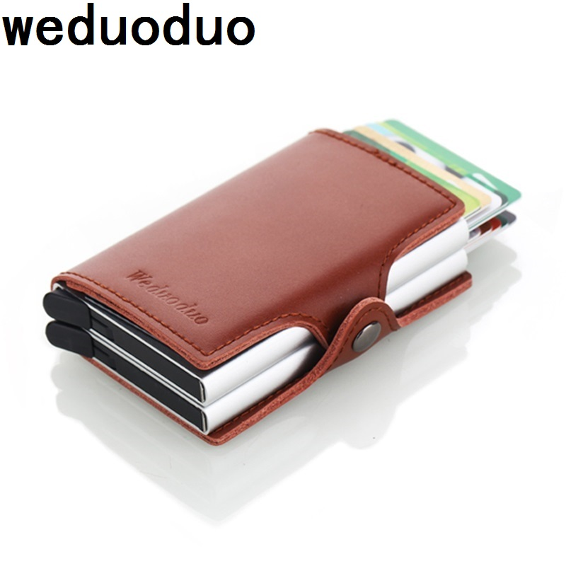 Genuine Leather Automatic Credit Card Holder Men High Quality Aluminum Business Credit Card Multi-function Card Holder Wallet